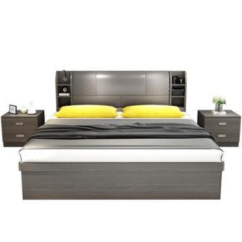 板式床现代简约1.8米双人床小户型经济型气动高箱床1.5收纳储物床