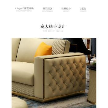 后现代真皮沙发意式轻奢别墅客厅头层牛皮沙发高端设计师成套家具