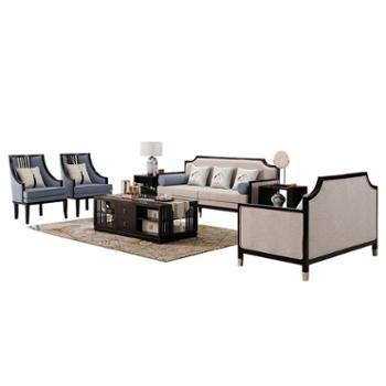 新中式沙发 现代简约客厅*别墅禅意家具 全实木布艺沙发组合