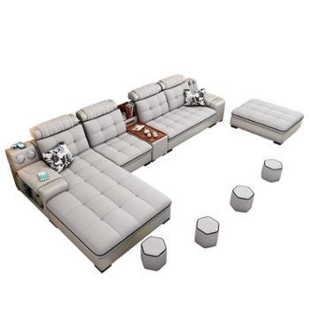 北欧布艺沙发简约客厅现代大小户型乳胶皮布沙发宜家具整套装组合