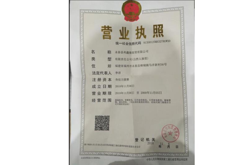永泰县利鑫德商贸有限公司