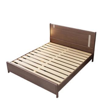 美思林北欧现代简约家用单双人胡桃木床