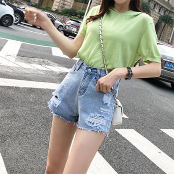 维蒙E族牛仔短裤女夏宽松显瘦阔腿高腰a字时尚热裤207