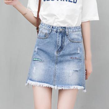 维蒙E族春夏季牛仔短裤短裙韩版显瘦牛仔裙毛边不规则时尚裙子修身WM101