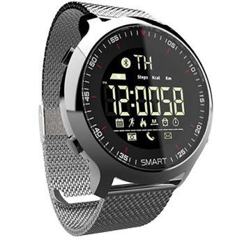纽曼数字运动智能手环男女计步器蓝牙防水户外手表来电提醒EX18金属银
