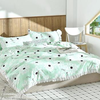 夏季空调房床上用品 水洗棉夏被三件套 夏凉被搭配枕套一对装 夏凉套装床品