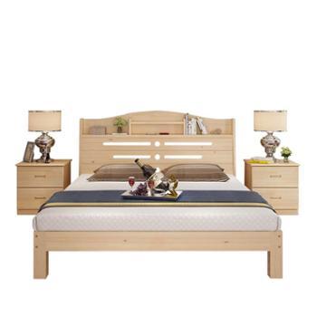 实木松木1.5米单双人床1.8米简易带书架床现代主卧家具储物床
