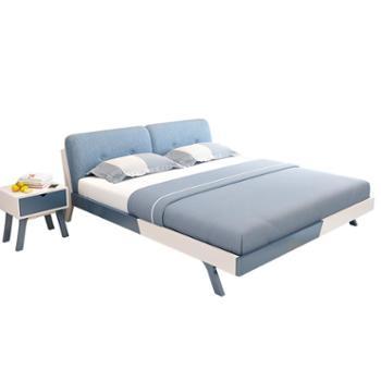 简约现代实木床小户型1.5米1.8米单人双人床时尚经济型主卧家具