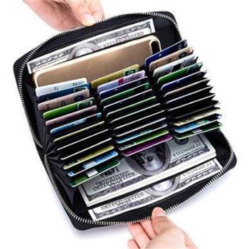 真皮长款卡包护照包大容量风琴信用卡包多功能男女士多卡位PL-6662