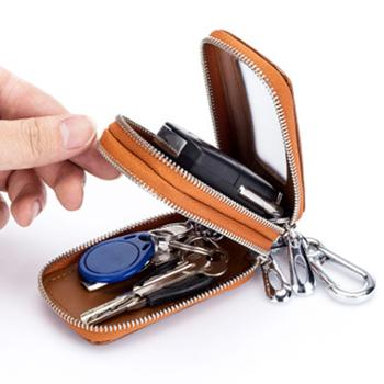 ZHUOMUNIAO真皮拉链汽车双层钥匙包腰挂CL-2468