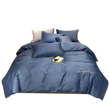 花蓉蓉全棉四件套纯棉60支长绒棉贡缎刺绣床单被套床笠床上用品