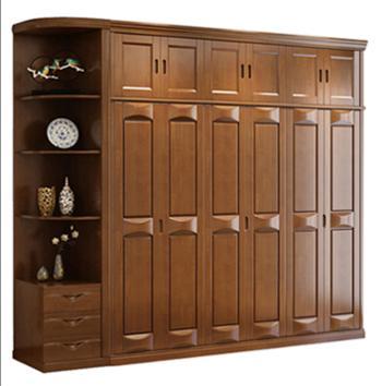 实木衣柜 中式橡木衣柜两门三门四门五门六门全实木简约现代衣柜