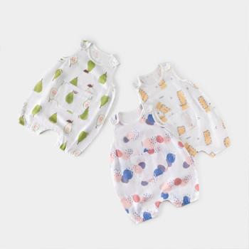 威尔贝鲁新生婴儿衣服纯棉纱布宝宝连体衣哈衣爬服