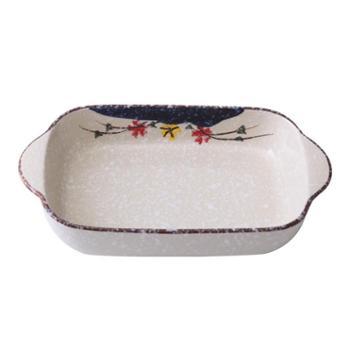 佰润居 日式长方形陶瓷烤碗 双耳焗饭盘意面烘焙烤盘