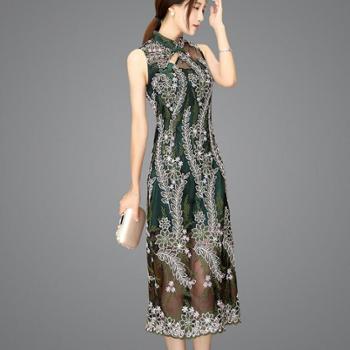 翠啼鸟无袖蕾丝女绣花裙日常礼服新款复古中长款时尚旗袍QP030