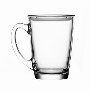 乐美雅钢化玻璃清晨把杯320ml(带盖)Q0778(2只装)