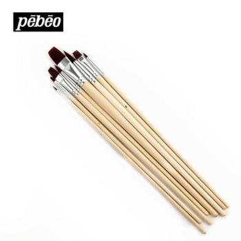 法国贝碧欧8支棕色尼龙水彩画笔 平头水彩笔水粉油画丙烯画笔套装