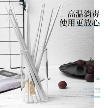 北欧ins白家用网红餐具合金筷子10双装高档家庭防滑防霉日式尖头