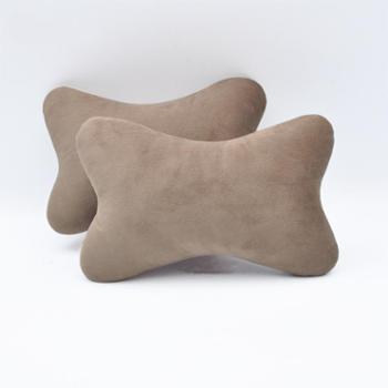 水晶绒汽车头枕柔软绒面车载护颈枕头骨头型车枕通用一对装可拆洗