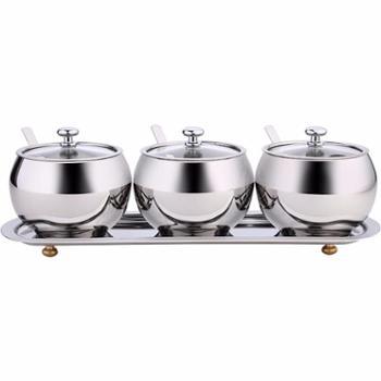 SSGP 德国304不锈钢调味罐家用辣椒糖味精调料盒油盐罐套装三件套