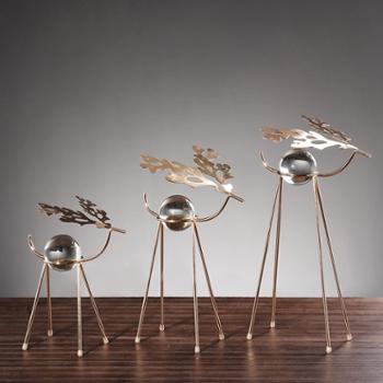 水晶球摆件*金属不锈钢软装工艺品创意家居抽象鹿装饰摆设