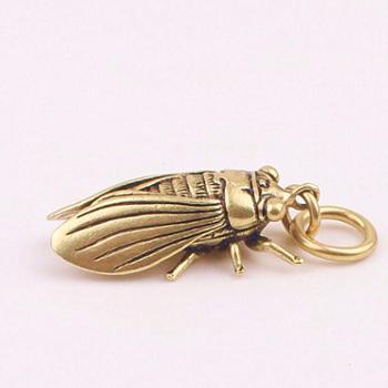 中国风纯黄铜小铜件创意蝉知了匠挂件吊坠男女钥匙扣小鸟配件