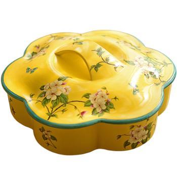 墨菲 中式陶瓷干果盘分格带盖收纳盒