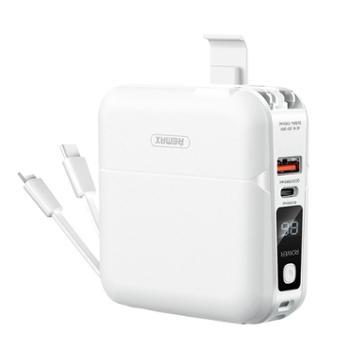 remax 充电宝 带插头自带线18w快充15000毫安