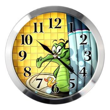 Disney/迪士尼鳄鱼金属边框静音挂钟(8寸)C4012