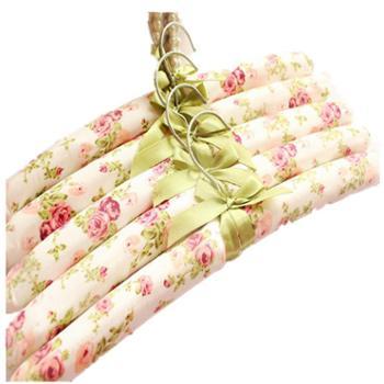 田园粉色碎花布艺包布衣架海绵挂衣服架防滑衣架成人家用(5个装)
