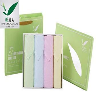 爱竹人条缎四件套(绿色小礼盒) 34cm×74cm 95g
