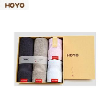 HOYO抗菌毛巾家庭四件套 牛皮纸礼盒方巾*2+毛巾*2 100%棉 690g 7256