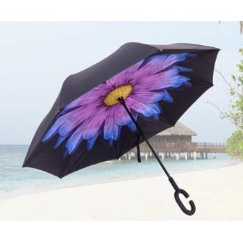 自动反向双层长柄免持式晴雨伞