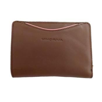 尼诺里拉NINORIVA咖色女士时尚可拆卸拉鏈包牛皮革中长款钱夹NR60322-2
