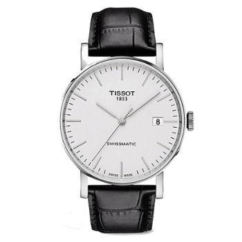 TISSOT天梭魅时系列机械手表白盘皮带男表T109.407.16.031.00