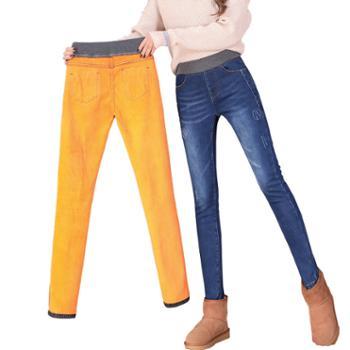 欧熙妮女士牛仔裤松紧腰高腰加绒长裤