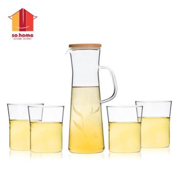 sohome 风尚竹木系水具五件套 耐热玻璃冷热凉水壶花果茶壶