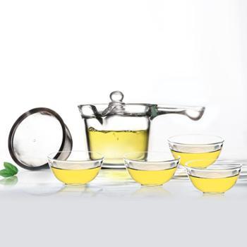 sohome 耐热玻璃茶壶 单手易握冲茶壶侧把壶 不锈钢过滤花茶壶套装
