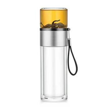 尚明C007不锈钢环茶水分离泡茶杯双层玻璃水杯旅行便携随手杯