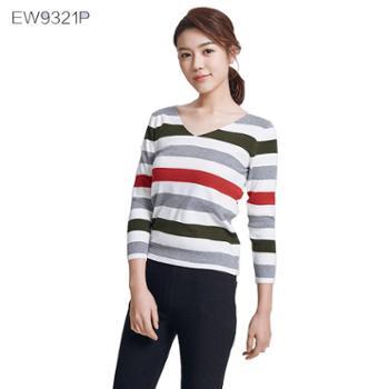 戎立特女条纹长袖打底衫EW9321P-22P混纺