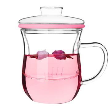 谁美耐热带盖透明办公玻璃窈窕茶杯