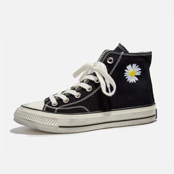 上匠风华 开春必备高帮情侣款小菊花帆布鞋