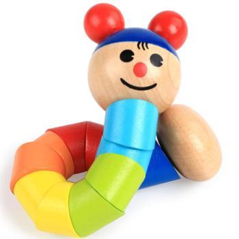 木制关节可动扭扭虫玩具 0-1-2岁婴幼儿早教益智锻炼手指灵活玩偶