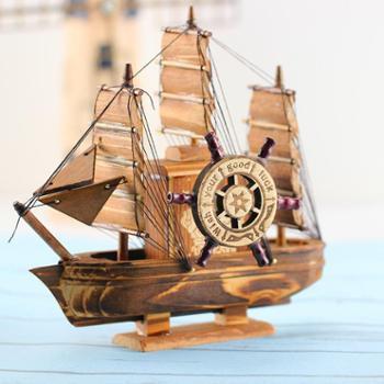 木质工艺品摆件一帆风顺音乐帆船办公室摆饰学生礼品