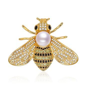 仙蒂瑞拉精工镶嵌大黄蜂8-8.5mm时尚珍珠胸针附证书