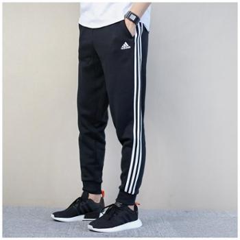 Adidas阿迪达斯男裤三条纹休闲针织加绒运动长裤BR3696SH