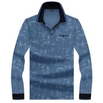 阿里虎男装新款中年男士长袖打底翻领t恤男式休闲polo衫8870