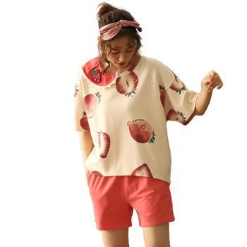 菲蜜莉睡衣纯棉娃娃领短袖甜美可爱宽松家居服可外穿套装
