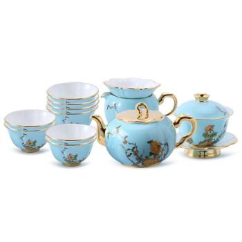 金和汇景-夫人瓷西湖蓝15头功夫茶具