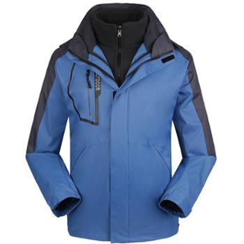 雷宾迪户外冲锋衣男三合一抓绒两件套秋冬防水透气保暖登山服